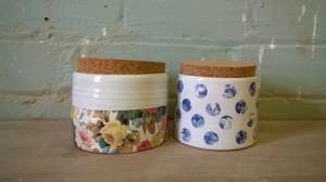 Cork lidded pots